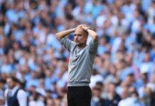 Reaksi Pep Guardiola saat Manchester City ditahan imbang 0-0 oleh Southampton pada pekan kelima Liga Premier Inggris 2021/22 di Stadion Etihad, Sabtu (18/9/2021). (Livescore)