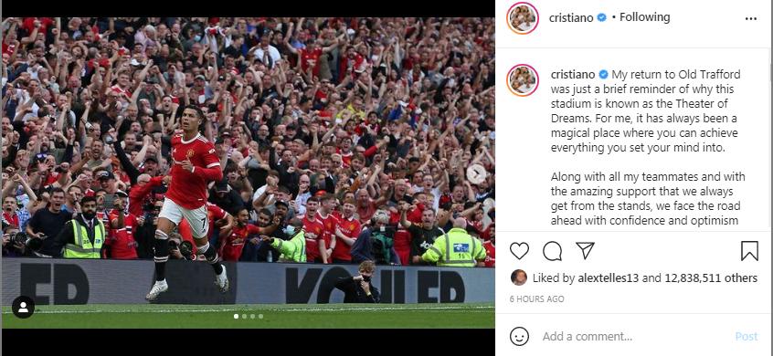Cristiano Ronaldo menulis pesan kepada penggemarnya di Integram. (Tangkapan layar Instagram).
