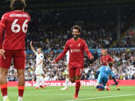 Mohamed Salah membuat tonggak sejarah dengan mencetak gol ke-100 di Liga Premier Inggris dalam kemenangan 3-0 atas Leeds United di Elland road, Minggu (12/9/2021. (Foto: Liverpoolfc.com)