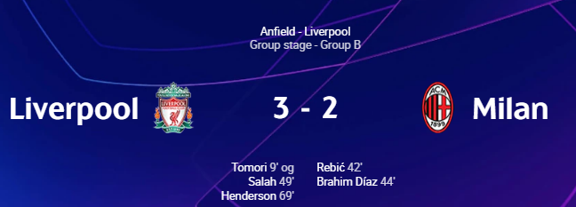 Liverpool 3-2 AC Milan.