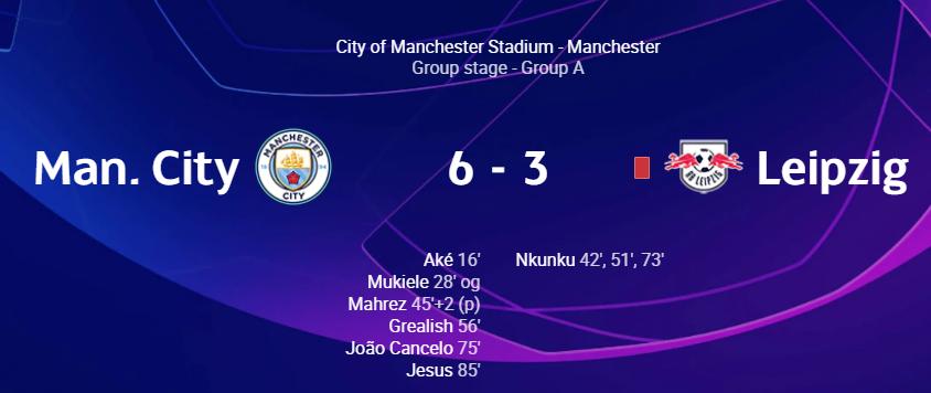 Manchester City vs RB Leipzig banjir gol, berakhir dengan skor 6-3 untuk tuan rumah.