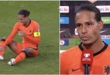 Bek Belanda dan Liverpool Virgil van Dijk memegangi pergelangan kakinya sambil meringis kesakitan saat Belanda vs Turki pada penyisihan Grup G Piala Dunia 2022. (Foto dari Givemesport)