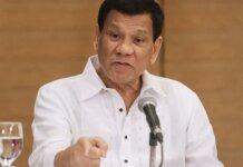 Presiden Filipina Rodrigo Duterte saat memberi pidato.(AFP )