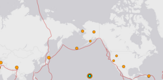 Pusat gempa bumi kuat di Hawaii, Amerika Serikat, Minggu (10/10/2021) waktu setempat atau Senin siang waktu Indonesia. (Screenshot USGS)