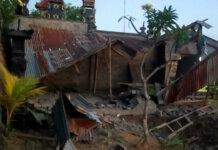 Rumha roboh dampak dari gempa bumi dengan magnitudo (M)4,8 terjadi 8 km barat laut Karangasem, pada hari ini, Sabtu (16/10), pukul 03.18 WIB. (BPBD Provinsi Bali)