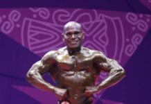 Oto Gideon Wantik, berhasil sumbangkan medali emas untuk Papua dari cabang olahraga binaraga (PB PON XX Papua - Satrio Nusantoro )