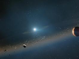 Konsep seniman tentang cincin puing yang memancar dari matahari saat runtuh menjadi white dwarf dalam lima miliar tahun atau lebih. (Observatorium WM Keck/Adam Makarenko via The New York Times)