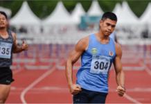 Atlet asal Sumatera Selatan, Rio Maholtra yang memecahkan rekor lari gawang 110 meter putra di PON XX Papua. (Foto: PB PON XX Papua /Rommy Pujianto)