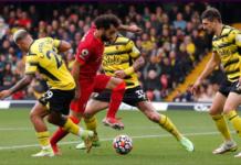 Aksi ajaib Mohamed Salah melewati tiga pemain Watford di dalam kotak penalti sebelum melepaskan tembakan kaki kiri menembus gawang Ben Foster. Salah mencetak satu gol dan satu assist dan memiliki pengaruh signifikan dalam seluruh pertandingan yang dimenangkan Liverpool dengan skor 5-0 di Vicarage Road, Sabtu (16/10/2021). (Foto: Premierleague.com)