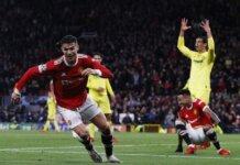 Cristiano Ronaldo merayakan gol penentu kemenangan ke gawang Villareal pada penyisihan Grup F Liga Champions 2021/22 di Old Trafford. (Sportsmole)
